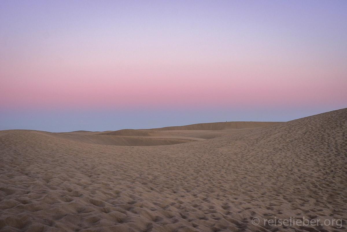 Sonnenuntergang bei den Dünen von Maspalomas, Gran Canaria