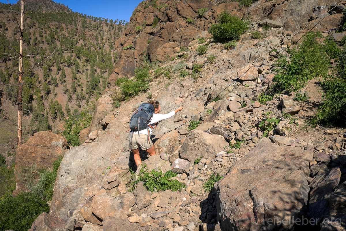 Kletterpartie inklusive nach einem Steinschlag
