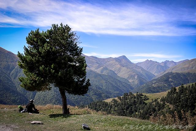 Wanderer vor Bergpanorama, der unter einem Baum Pause macht