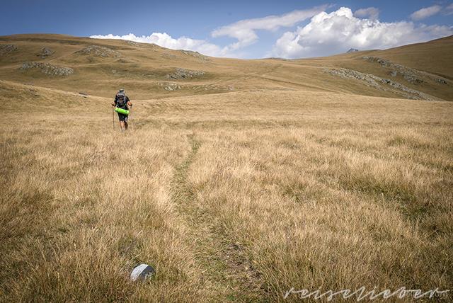 Wanderer auf Bergwiese