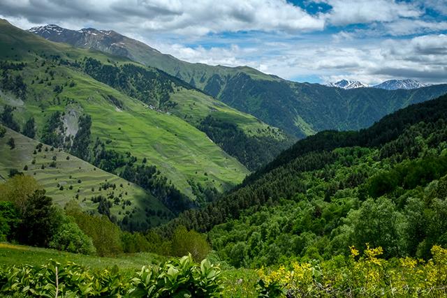 Ausblick in ein grünes Tal in Tuschetien