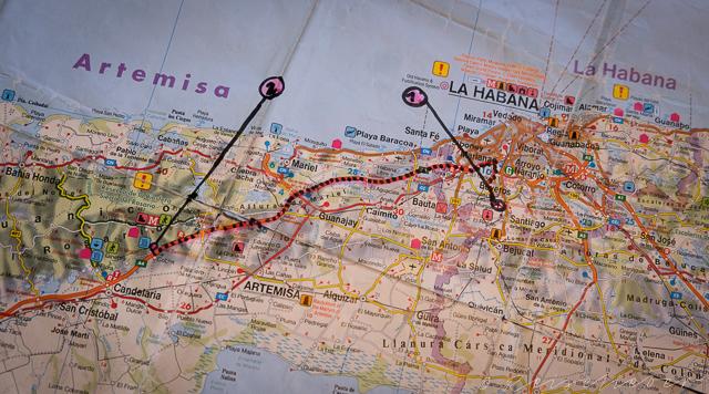 Routenkarte von Havanna nach Banos de San Juan