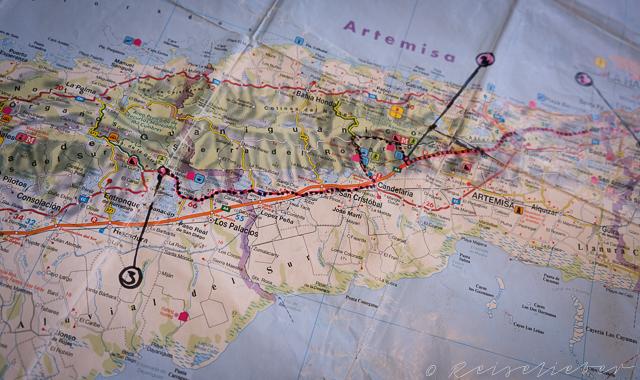 Routenkarte von Banos de San Juan nach San Diego de los Banos