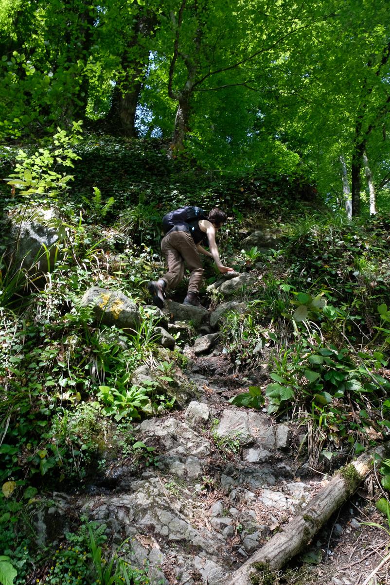 Steiler Wanderweg zum Black Grouse Wasserfall