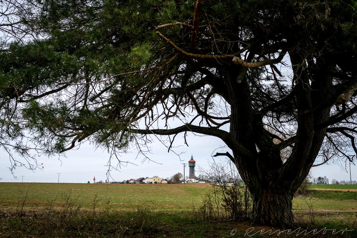 Altern Wasserturm an der Rundwanderung um Schernfeld